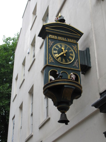 Stopped clock of Pied Bull Yard in Bloomsbury London