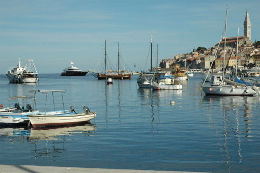Super-yacht in the harbour of Rovinj Croatia