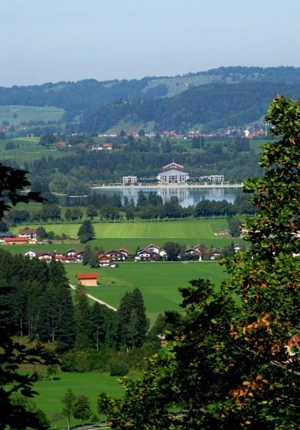 View across lake from Neuschwanstein Castle Bavaria