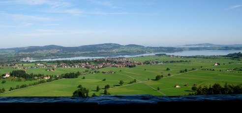 View of countryside from Neuschwanstein Castle balcony Bavaria